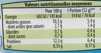 6 oeufs frais (pondus en France) - Información nutricional