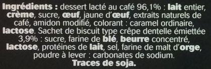 Dessert au café, avec brisures de crêpes dentelle - Ingrédients - fr