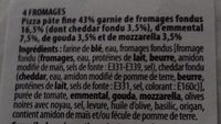 Pizza 4 fomages - Ingredients - fr