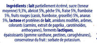 Yaourt brassé fruits mixés 16 pots - Ingredients