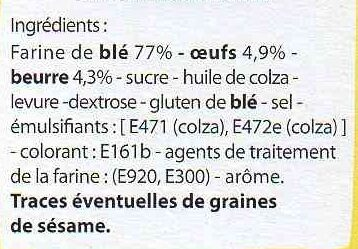 Tartines briochées Fines et savoureuses - Ingrediënten - fr