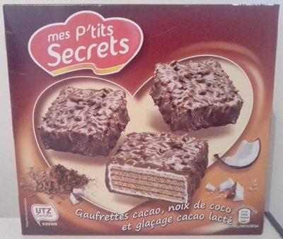 Gaufrettes cacao,noix de coco et glaçage cacao lacté - Produit