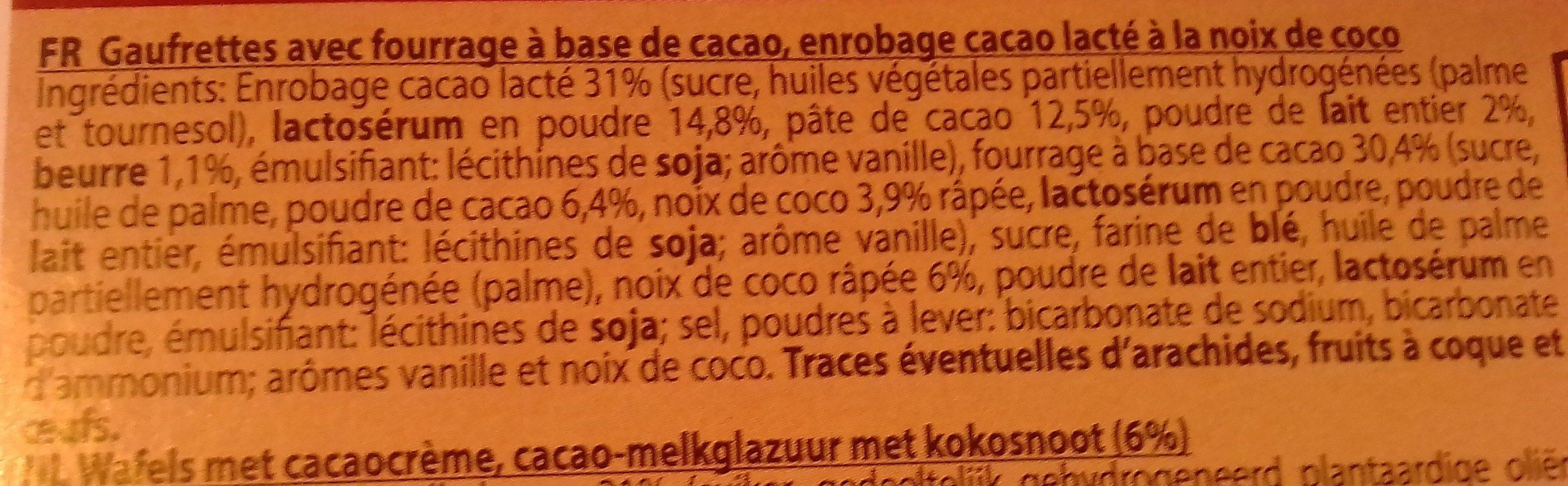 Gaufrettes cacao,noix de coco et glaçage cacao lacté - Ingrédients