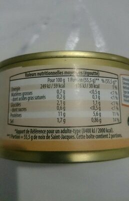 Noix de sait Jacques au naturel - Nutrition facts