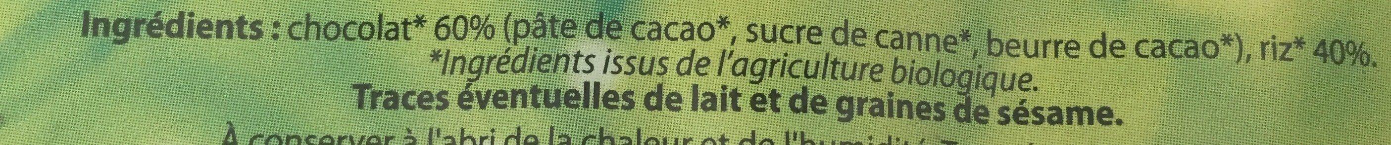 Galettes de Riz au chocolat - Ingredients - fr