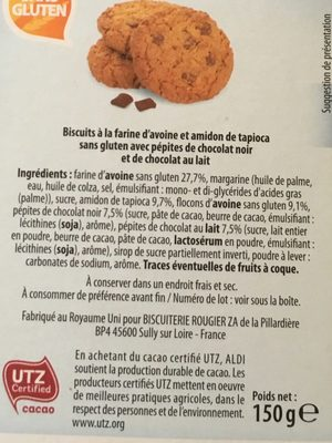 Cookies pépites chocolat noir et chocolat au lait - Ingrediënten - fr