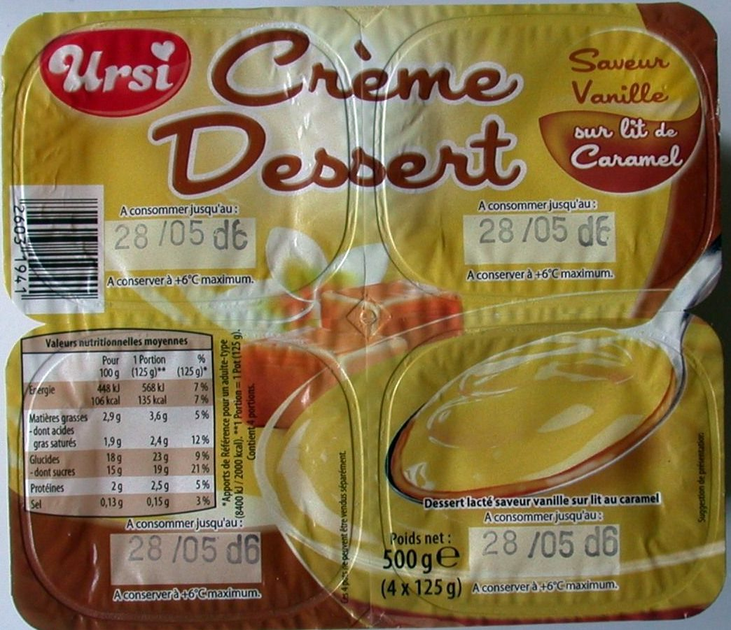 cr me dessert saveur vanille sur lit de caramel ursi 4. Black Bedroom Furniture Sets. Home Design Ideas