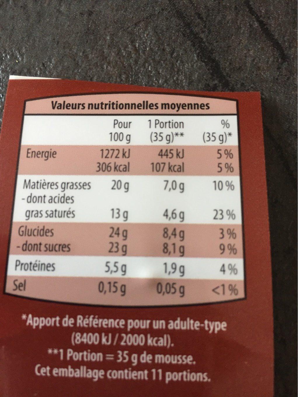 Mousse au chocolat noir - Informations nutritionnelles