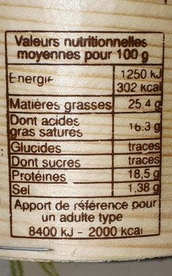Mont d'or AOP - Informations nutritionnelles
