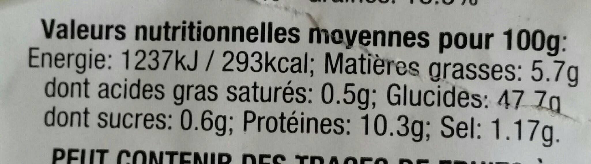 Pain Spécial aux Céréales - Informations nutritionnelles - fr