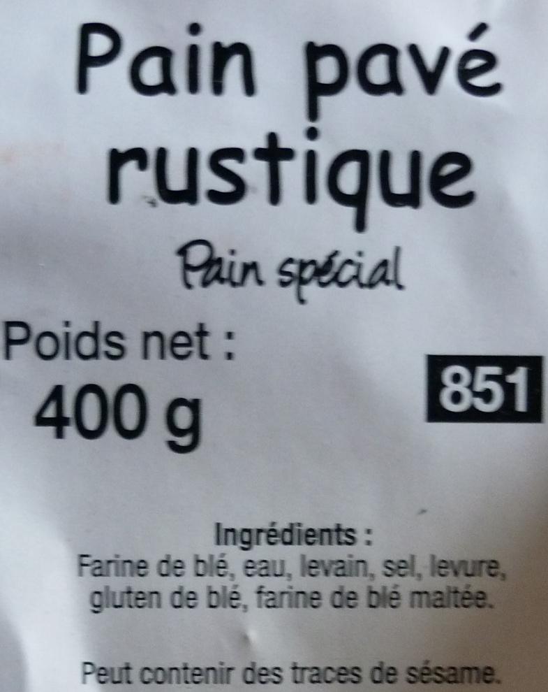 Pain pavé rustique - Ingrédients - fr