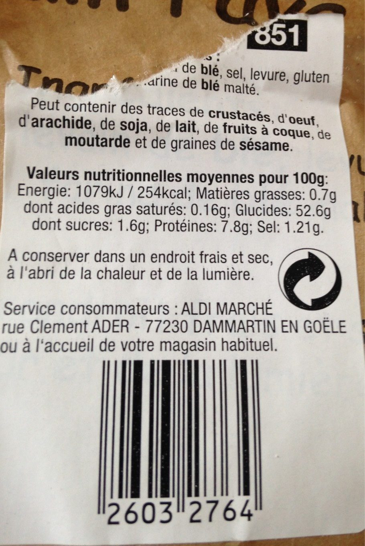 Pain pavé rustique - Informations nutritionnelles - fr