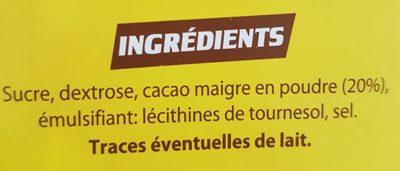 Chocolat en poudre - Ingrédients
