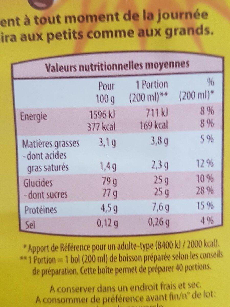Chocolat en poudre - Nutrition facts - fr