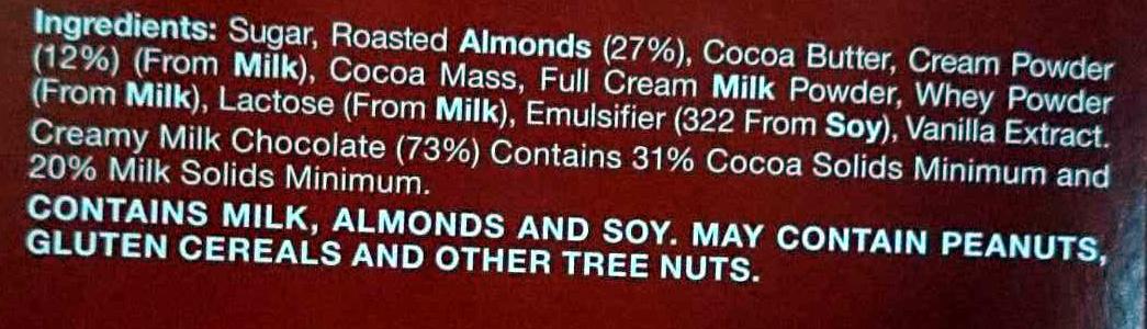 Milk Almond Chocolate - Ingredients - en