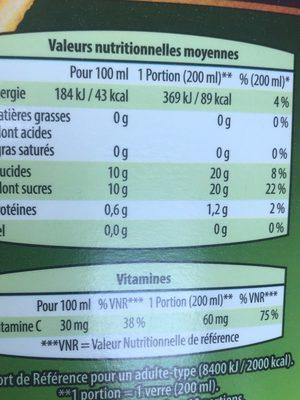 Orange 100% pur jus orange sans pulpe (format familial) - Nutrition facts