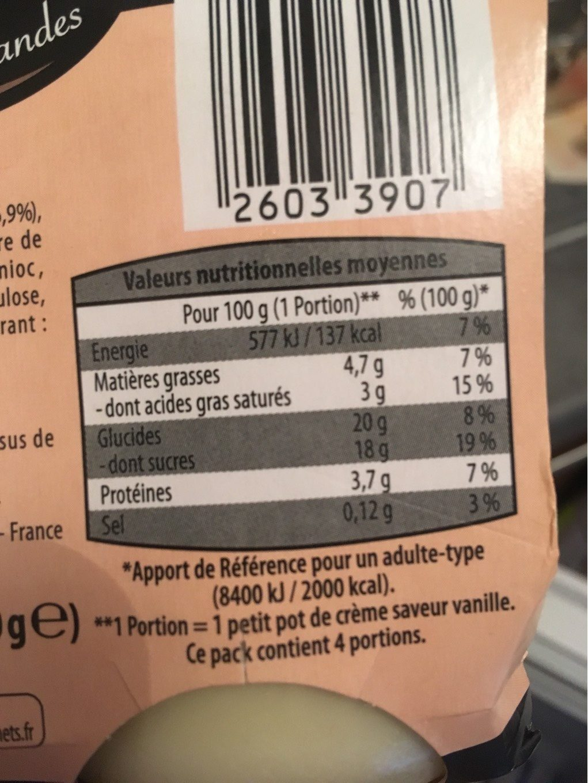 Petit pot de crème saveur vanille - Informations nutritionnelles - fr