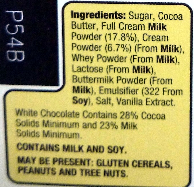 Choceur White Chocolate - Ingredients