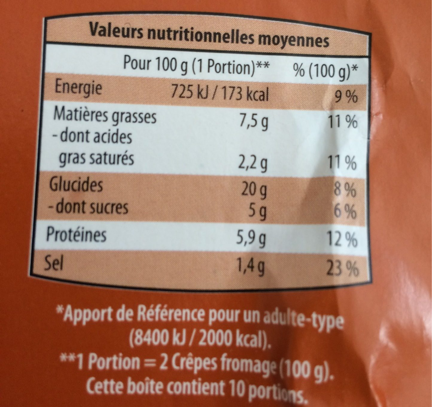 Crêpe Fromage - Informations nutritionnelles - fr