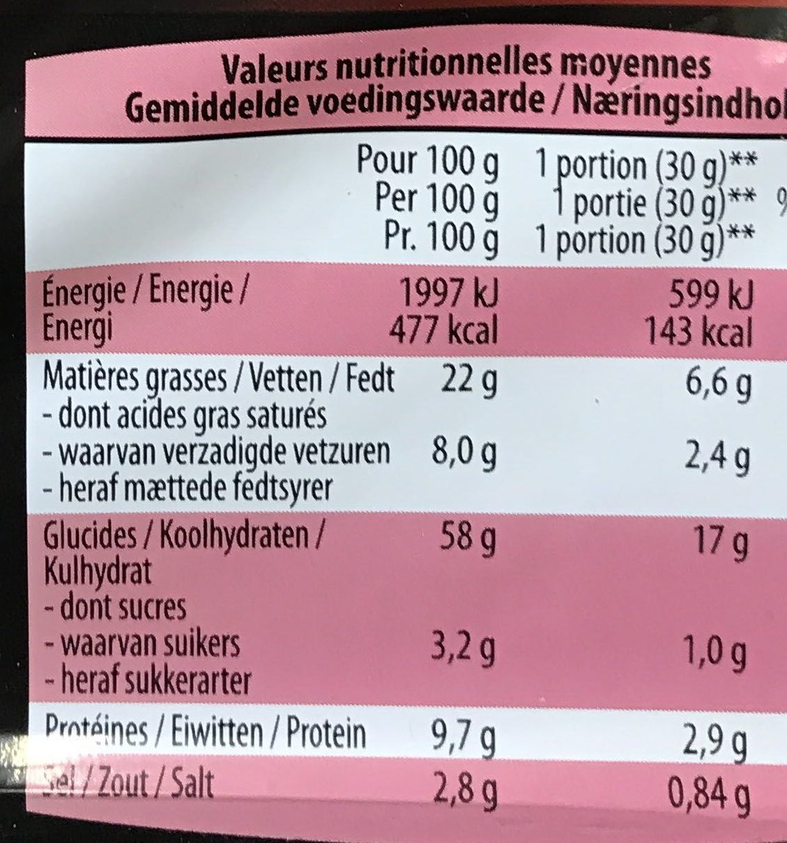Snack Mix - Voedingswaarden - fr