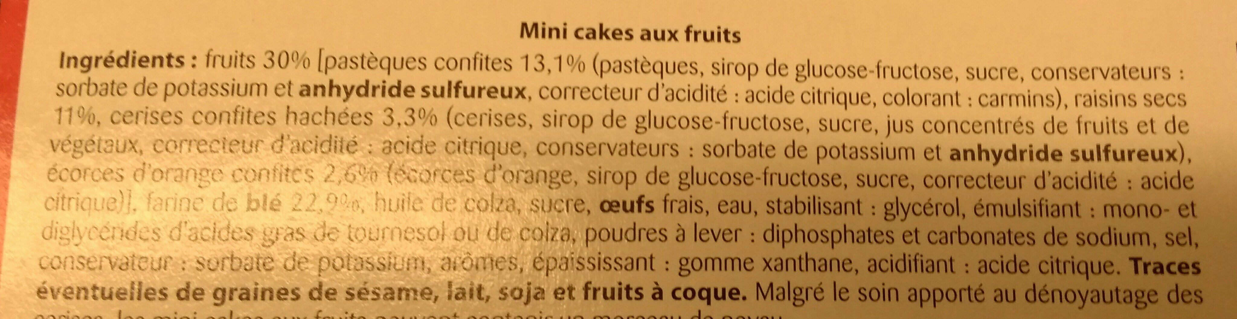 Mini cakes aux fruits - Ingredients - fr