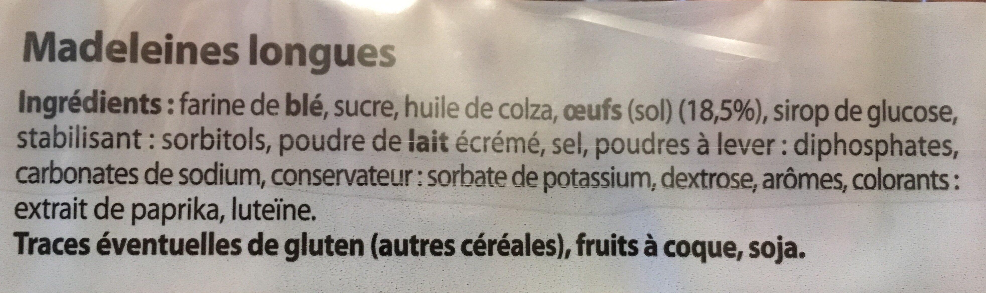Madeleines longues aux œufs - Ingrédients - fr