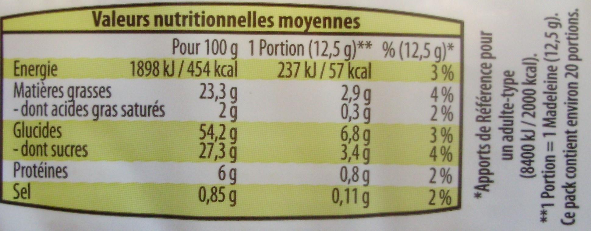 Madeleines longues aux œufs - Informations nutritionnelles - fr