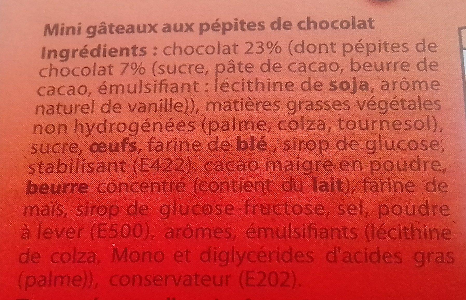 mini Brownie aux pepites de chocolat - Ingredients - fr
