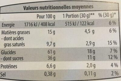 Mini couques aux pommes et beurre - Informations nutritionnelles - fr