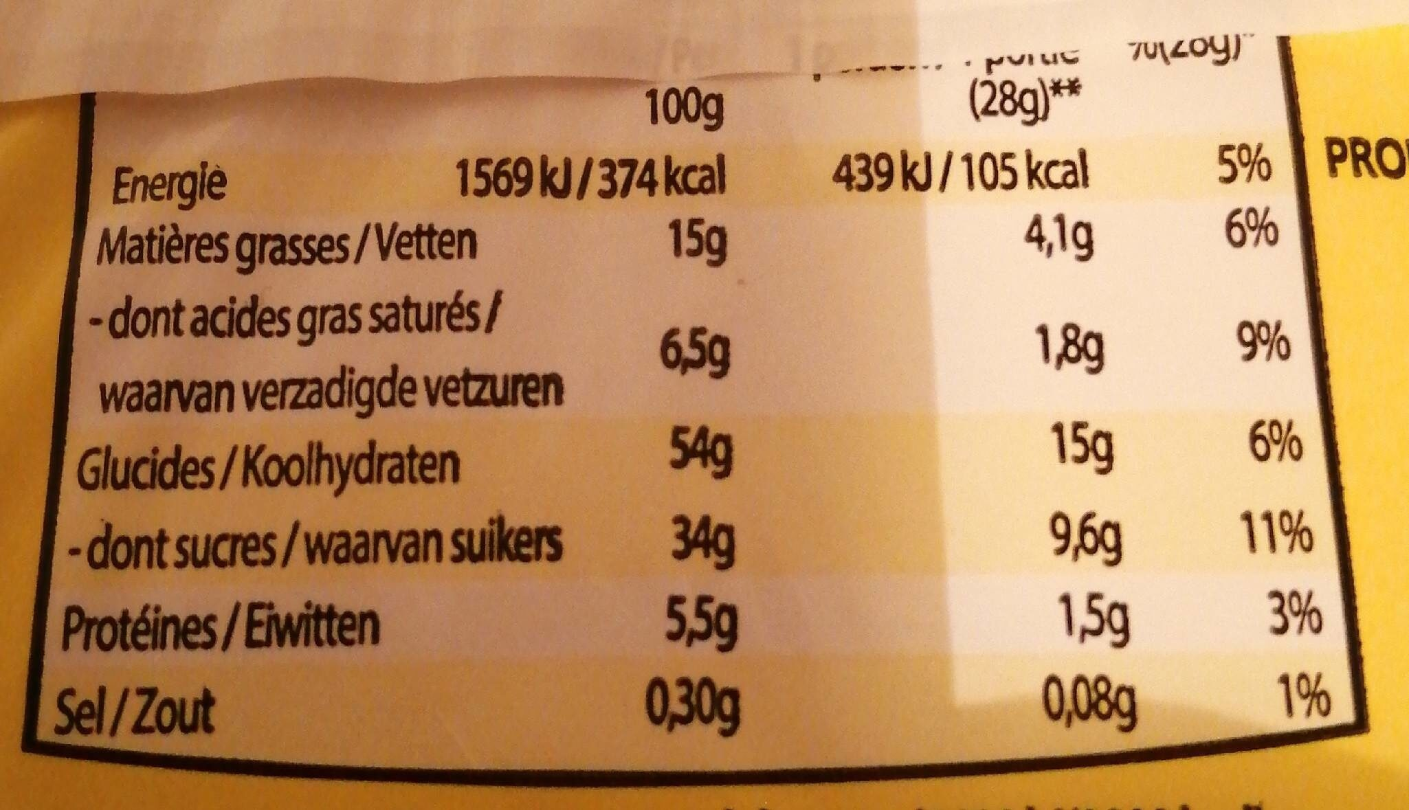 Mimi génoise fourrée cacao - Nutrition facts - fr