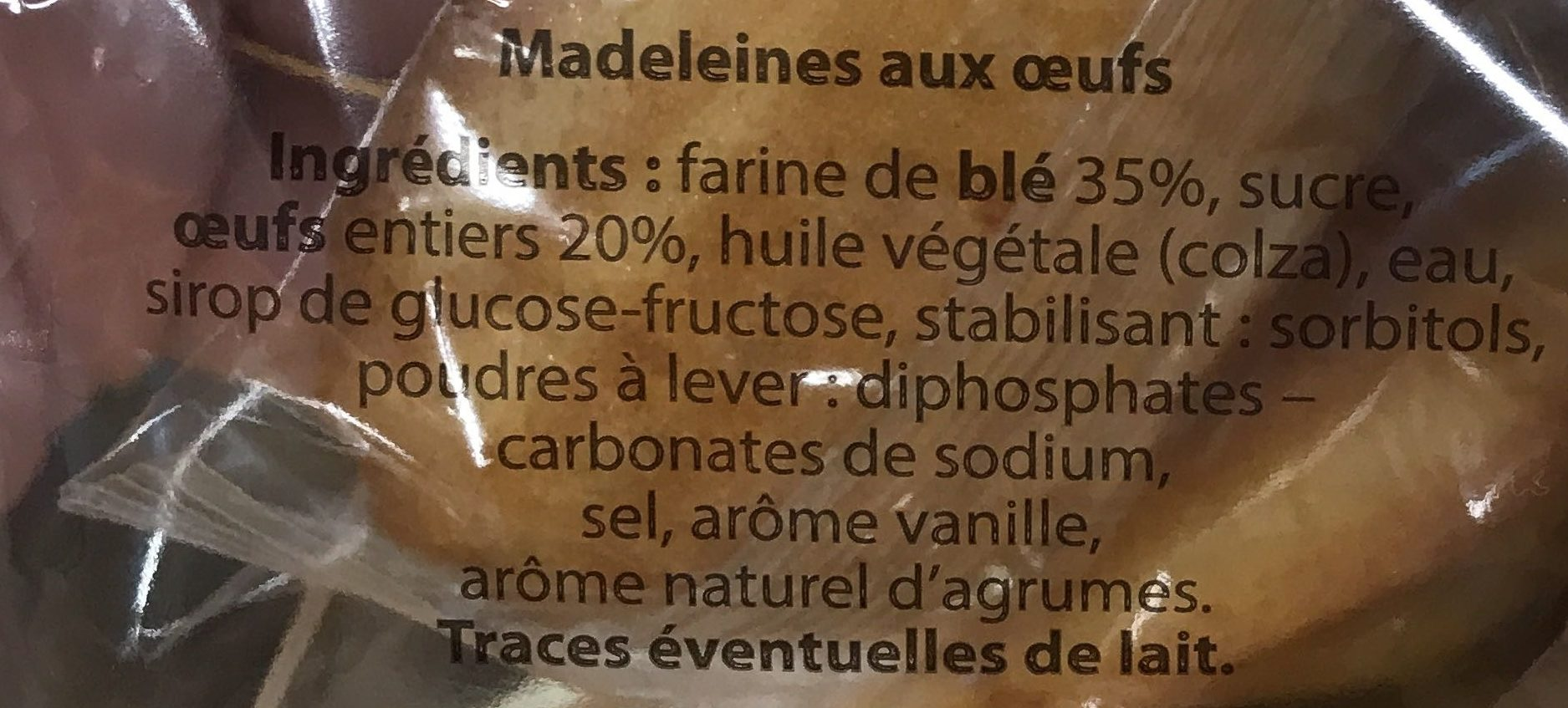 Madeleines coquille - Ingrédients