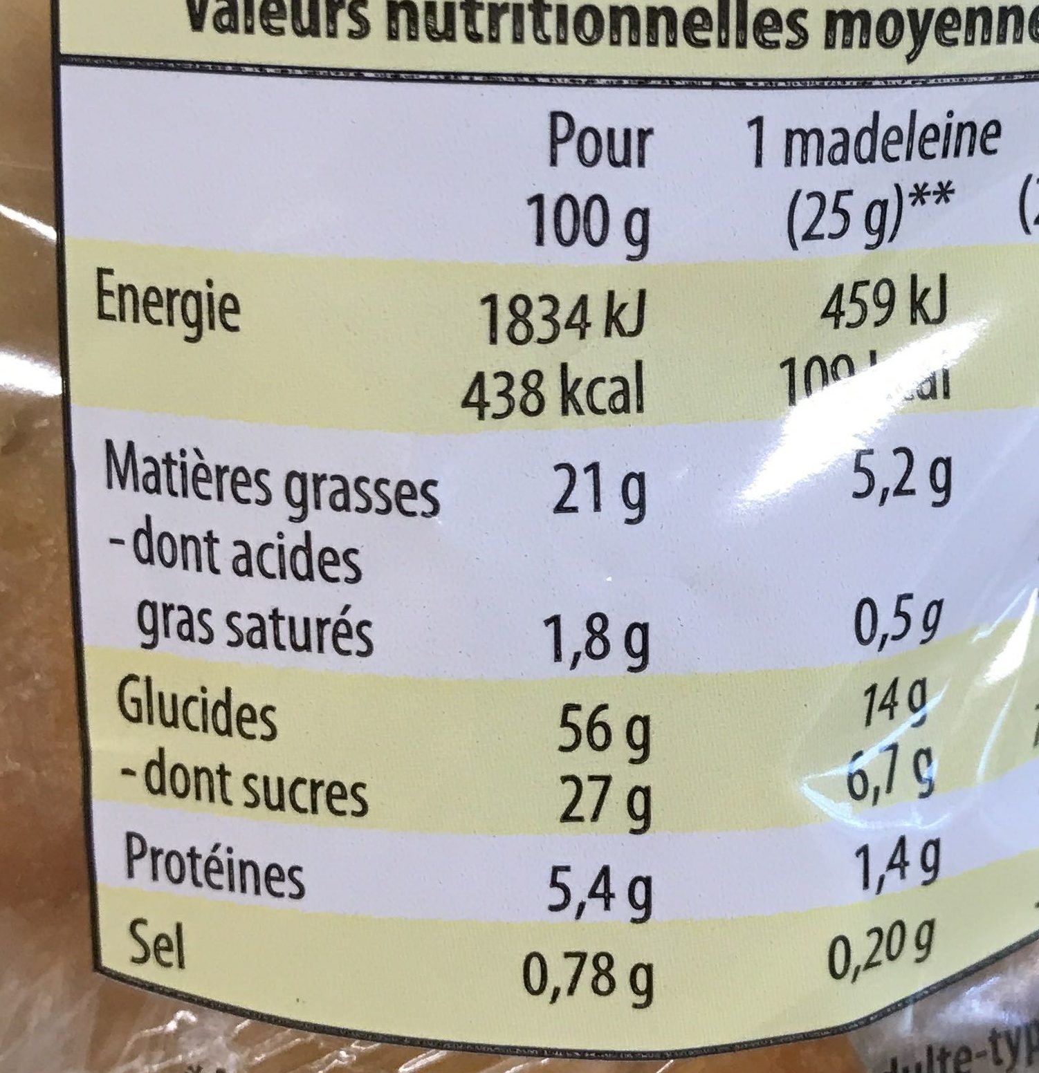 Madeleines coquille - Informations nutritionnelles