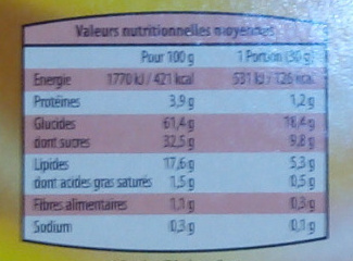 Mini fourré fraise ou chocolat - Nutrition facts