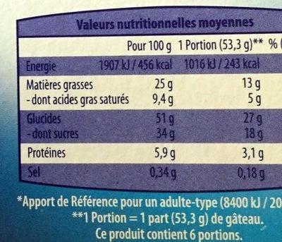 Brookie aux Éclats de Biscuits & Morceaux de Chocolat - Informations nutritionnelles - fr