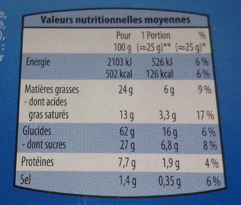 Sablés - chocolat au lait - Voedingswaarden - fr