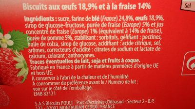 Génoise Fraises Paquet 120g - Ingredients - fr