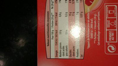 Génoise Fraises Paquet 120g - Informations nutritionnelles