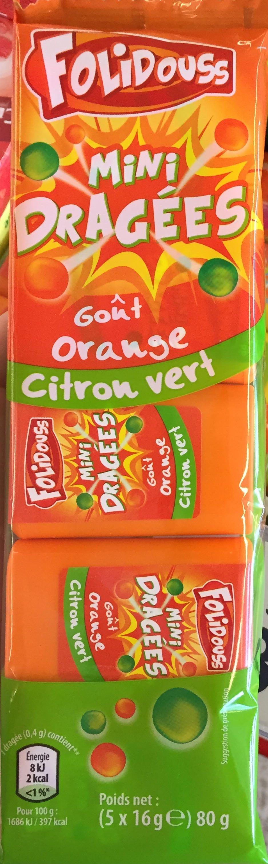 Mini Dragées goût Orange Citron Vert - Produit