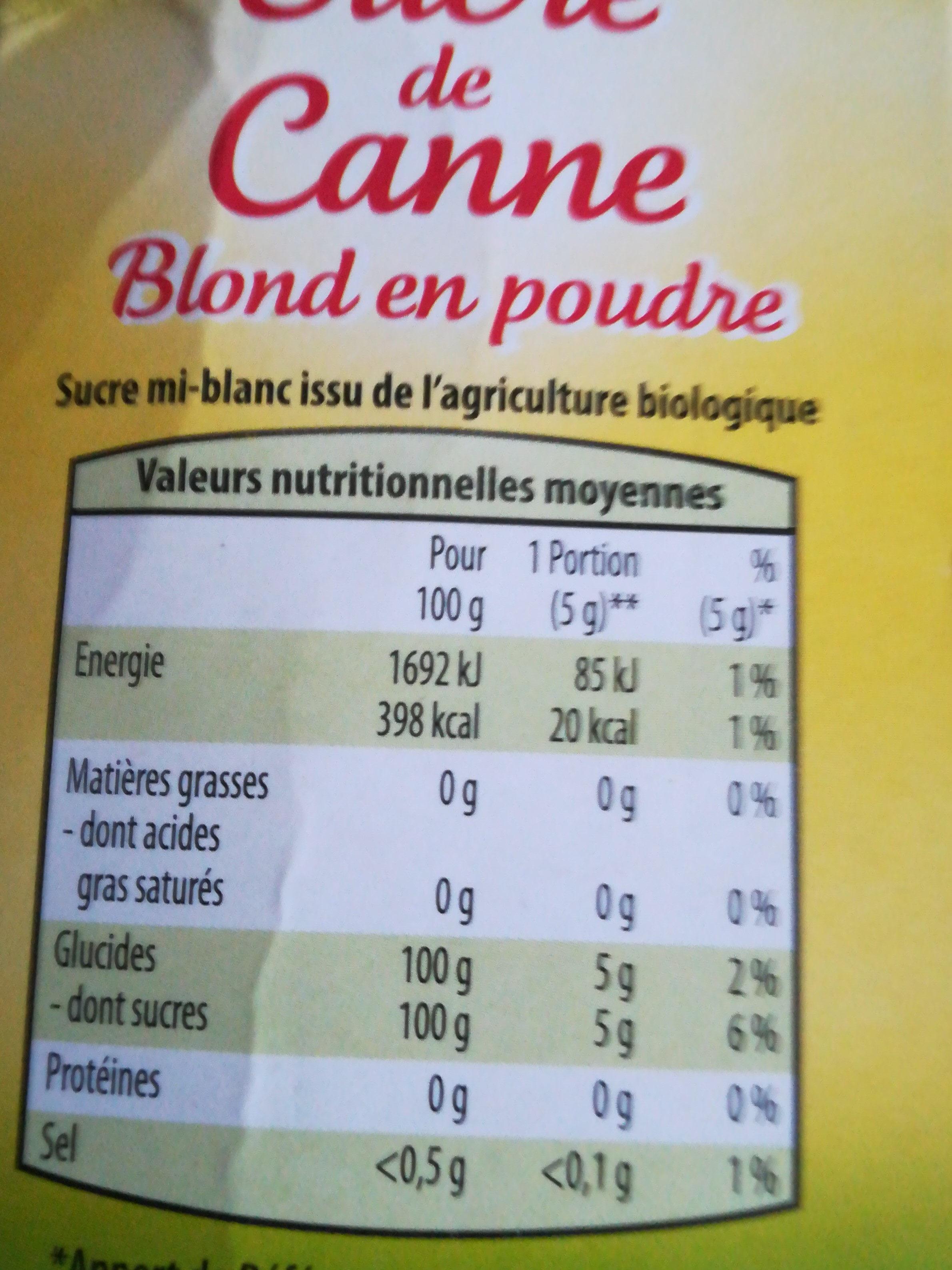 Sucre de canne blond en poudre - Ingrediënten