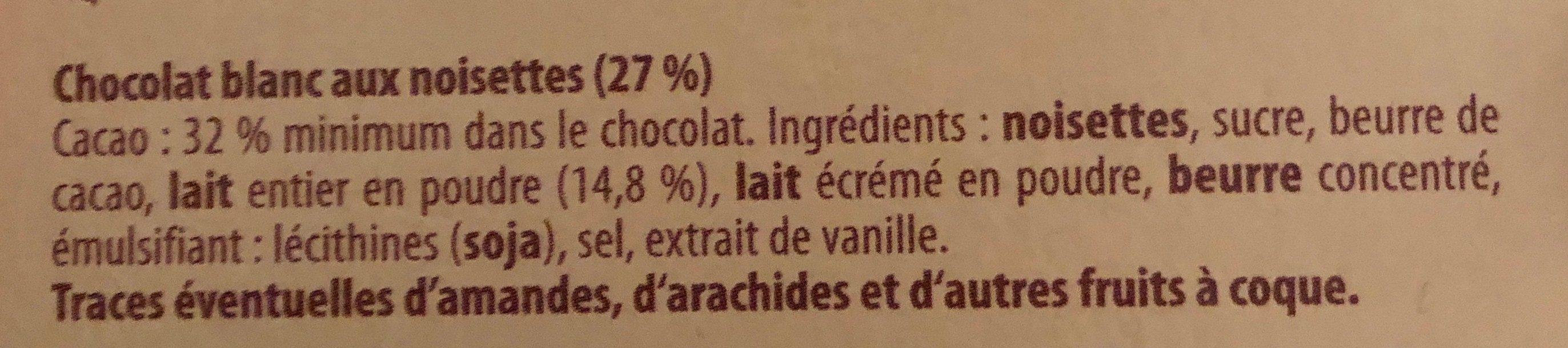 Chocolat Raffiné Blanc Noisettes - Ingrédients - fr