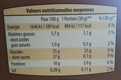 Céréales croquantes caramel et chocolat - Informations nutritionnelles - fr