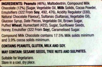 Hillcrest Nut Bars Choc Peanut - Ingredients - en