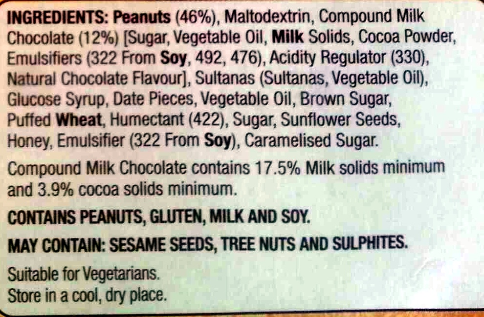 Hillcrest Nut Bars Choc Peanut - Ingredients