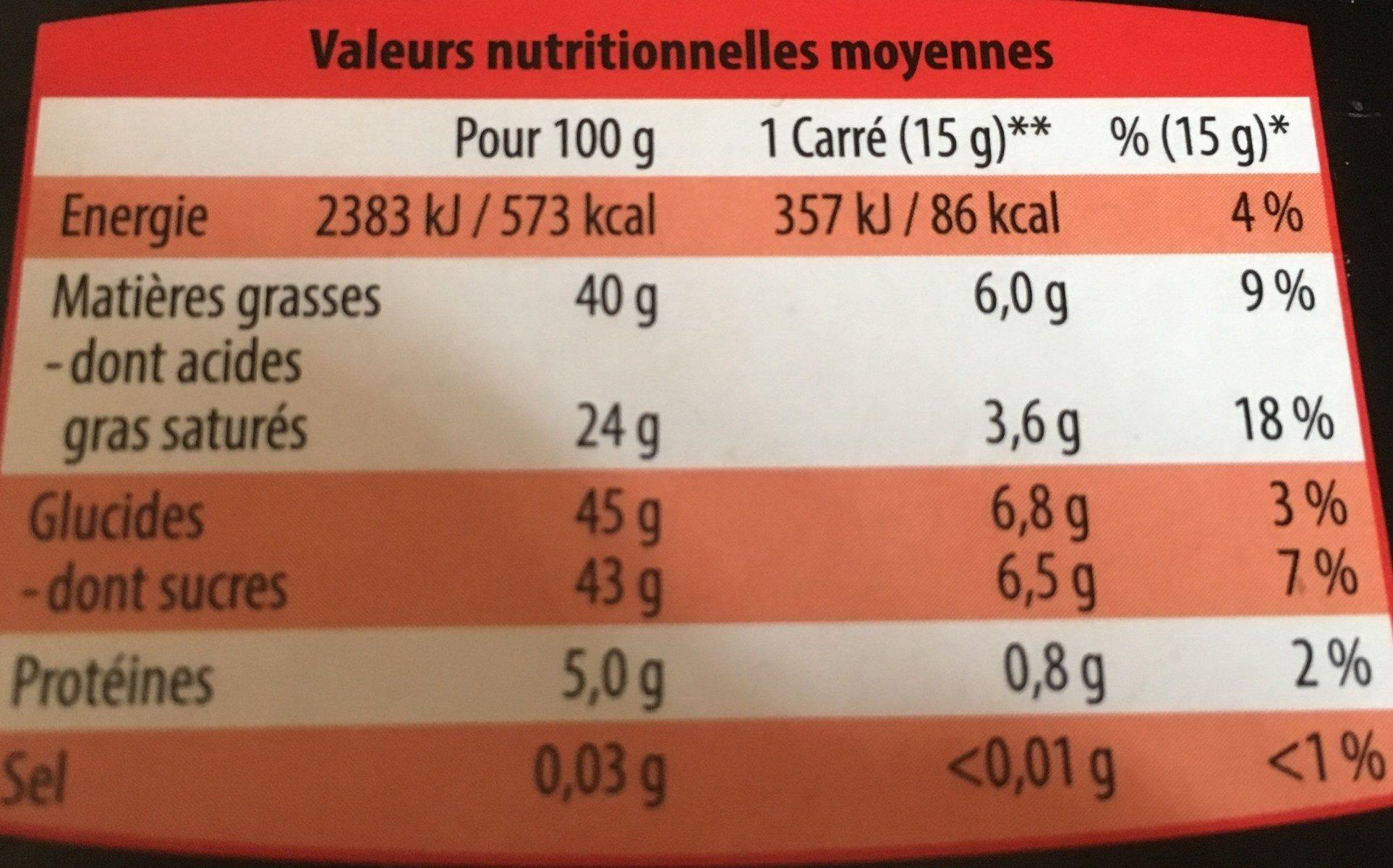 Scholetta chocolat praliné lait - Nutrition facts - fr