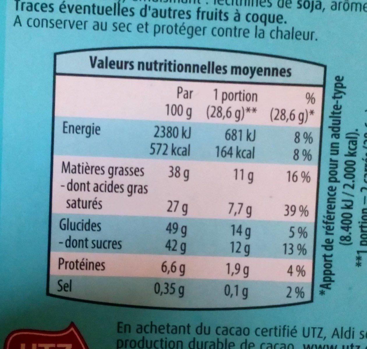 Chocolat blanc coco et cornfalkes - Informations nutritionnelles - fr