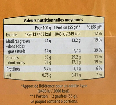 Gaufres moelleuses - Nutrition facts - fr