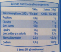 Chocobloc - Nutrition facts - fr