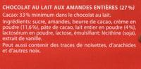 Lait amandes ou lait raisins noisettes - Ingrédients - fr