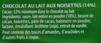Chocolat au lait noisette ou lait fourré praliné ou lait crème - Ingrédients - fr