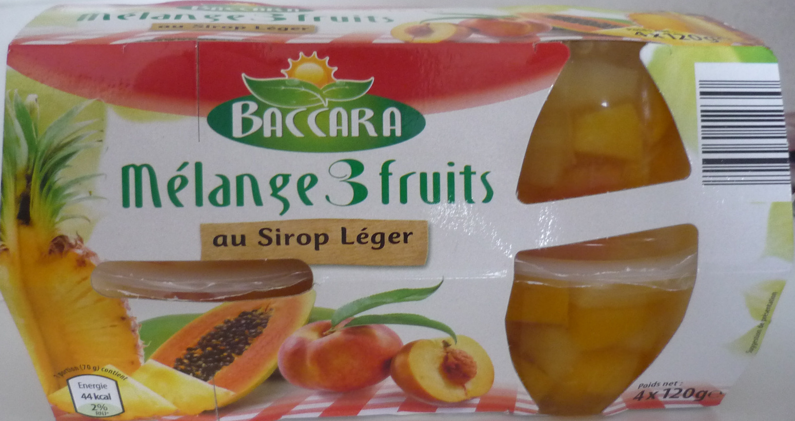 m lange 3 fruits au sirop l ger baccara 4x120 g. Black Bedroom Furniture Sets. Home Design Ideas